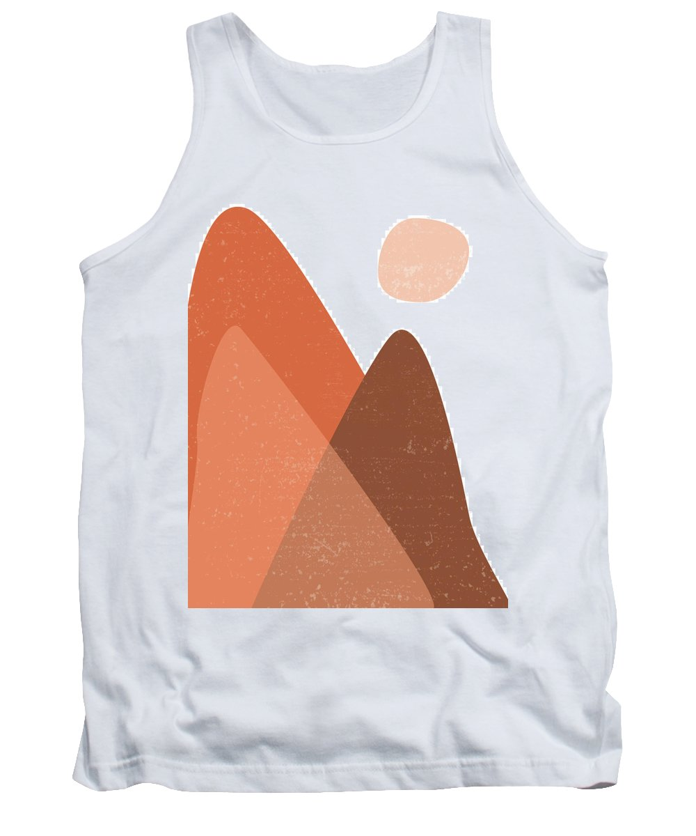 Mid Century Modern Tank Top featuring the photograph Mountain Ranges - Minimal Abstract - Terracotta Art - Contemporary, Modern Print - Brown by Studio Grafiikka
