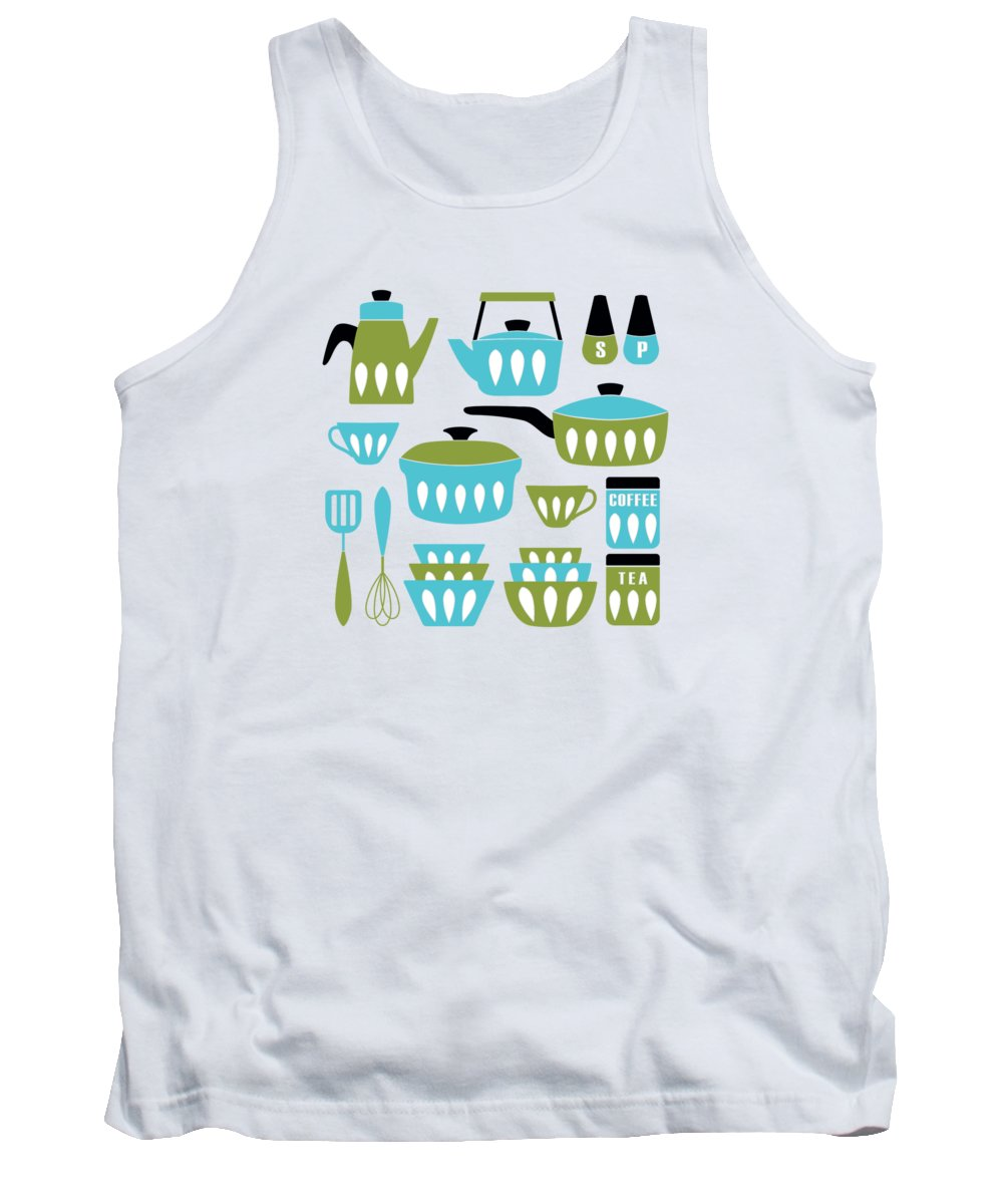 Painting Tank Top featuring the painting My Midcentury Modern Kitchen In Aqua And Avocado by Little Bunny Sunshine