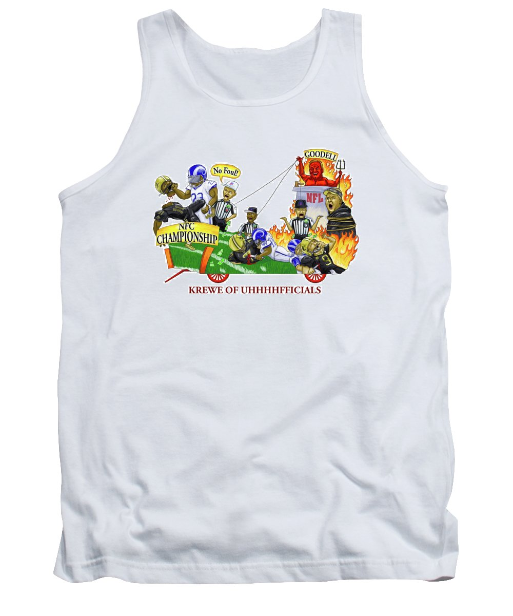 New Tank Top featuring the drawing New Orleans Saints Nfc Game Rigged And Robbed by Sean Gautreaux