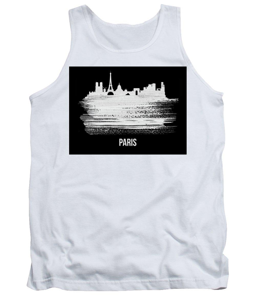 Paris Tank Top featuring the mixed media Paris Skyline Brush Stroke White by Naxart Studio