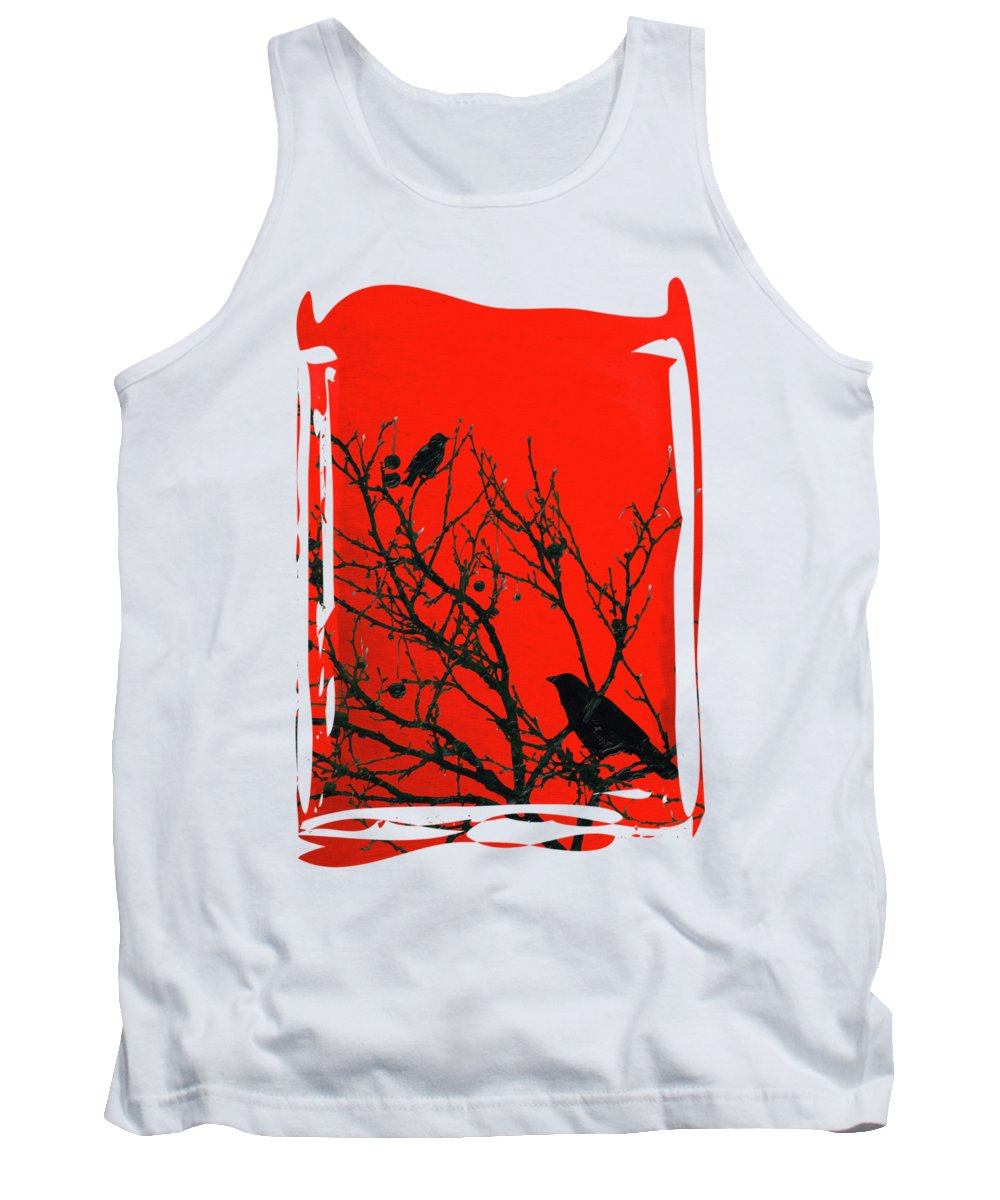 'contemporary Neo Expressionism' Collection By Serge Averbukh Tank Top featuring the digital art Raven - Black Over Red by Serge Averbukh