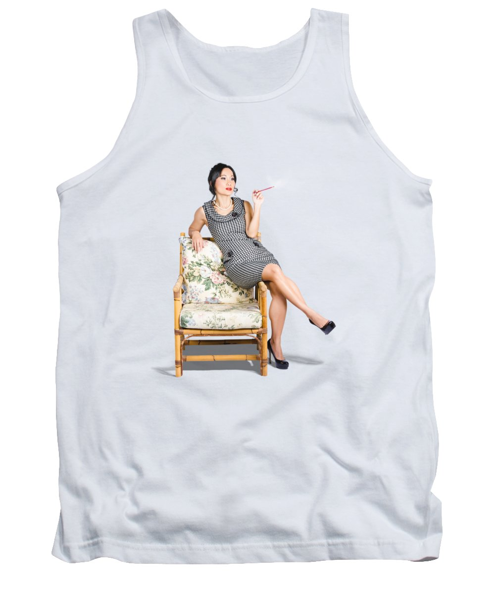 Fashion Tank Top featuring the photograph Retro Woman On Lounge Chair With Cigarette Holder by Jorgo Photography - Wall Art Gallery