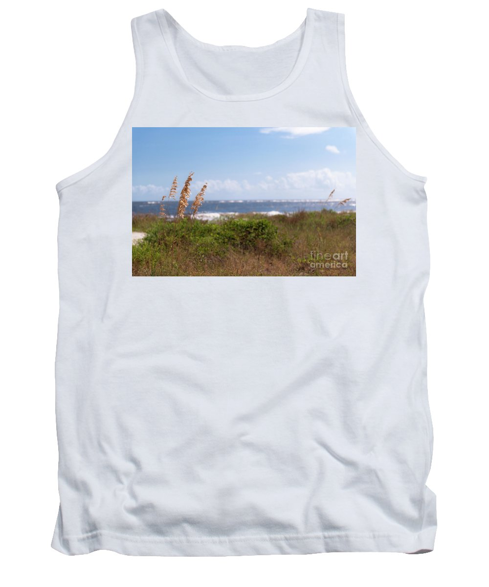 Beach Tank Top featuring the photograph Salty Island Breeze Over Breach Inlet by Dale Powell