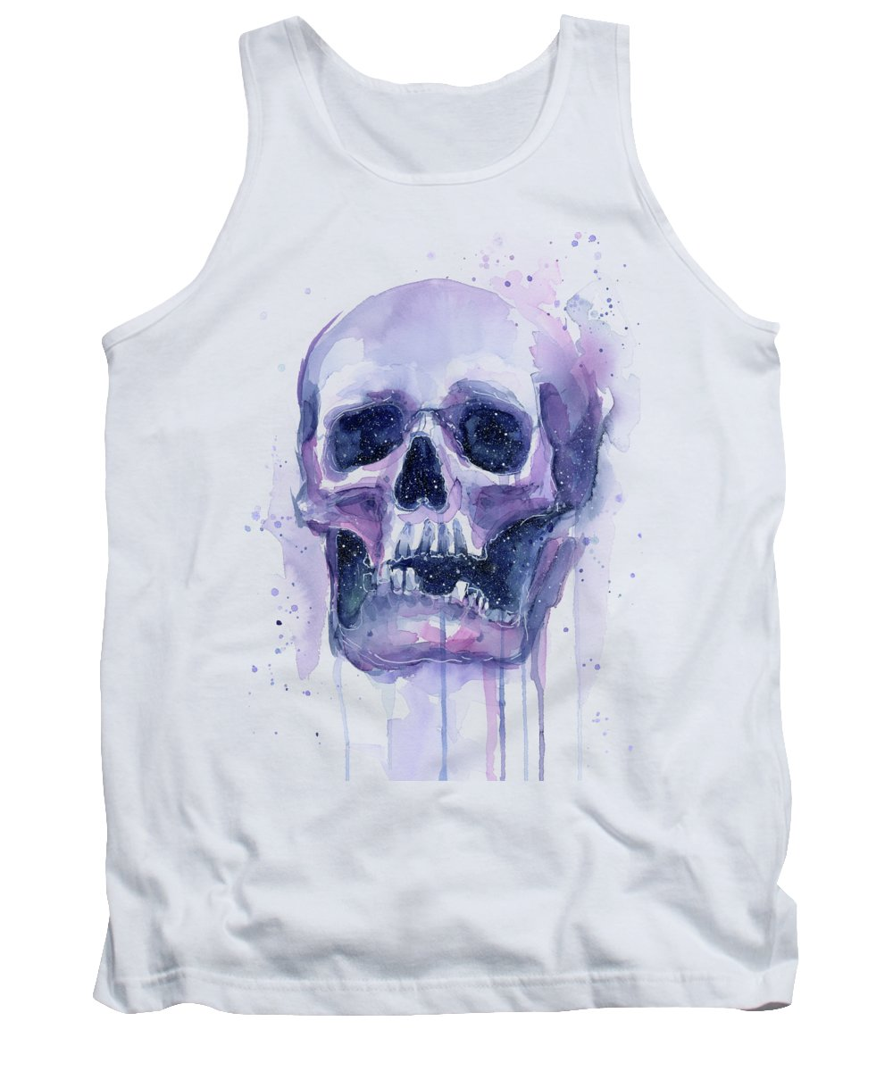 Space Tank Top featuring the painting Skull In Space by Olga Shvartsur
