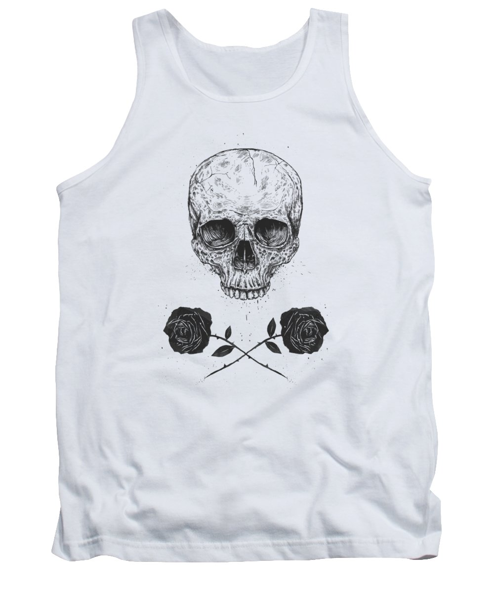 Skull Tank Top featuring the drawing Skull N' Roses by Balazs Solti
