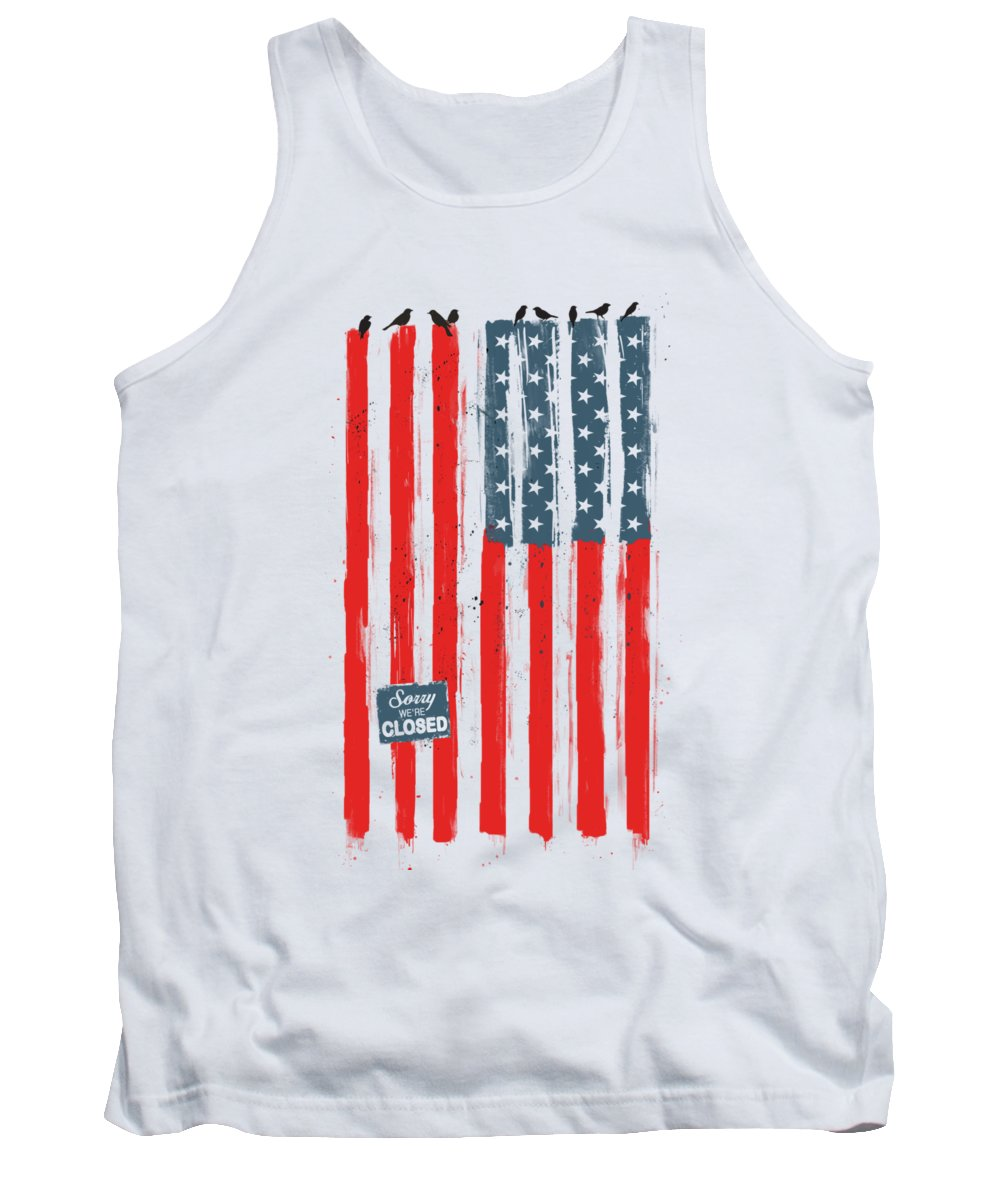 Usa Tank Top featuring the painting Sorry We're Closed by Balazs Solti