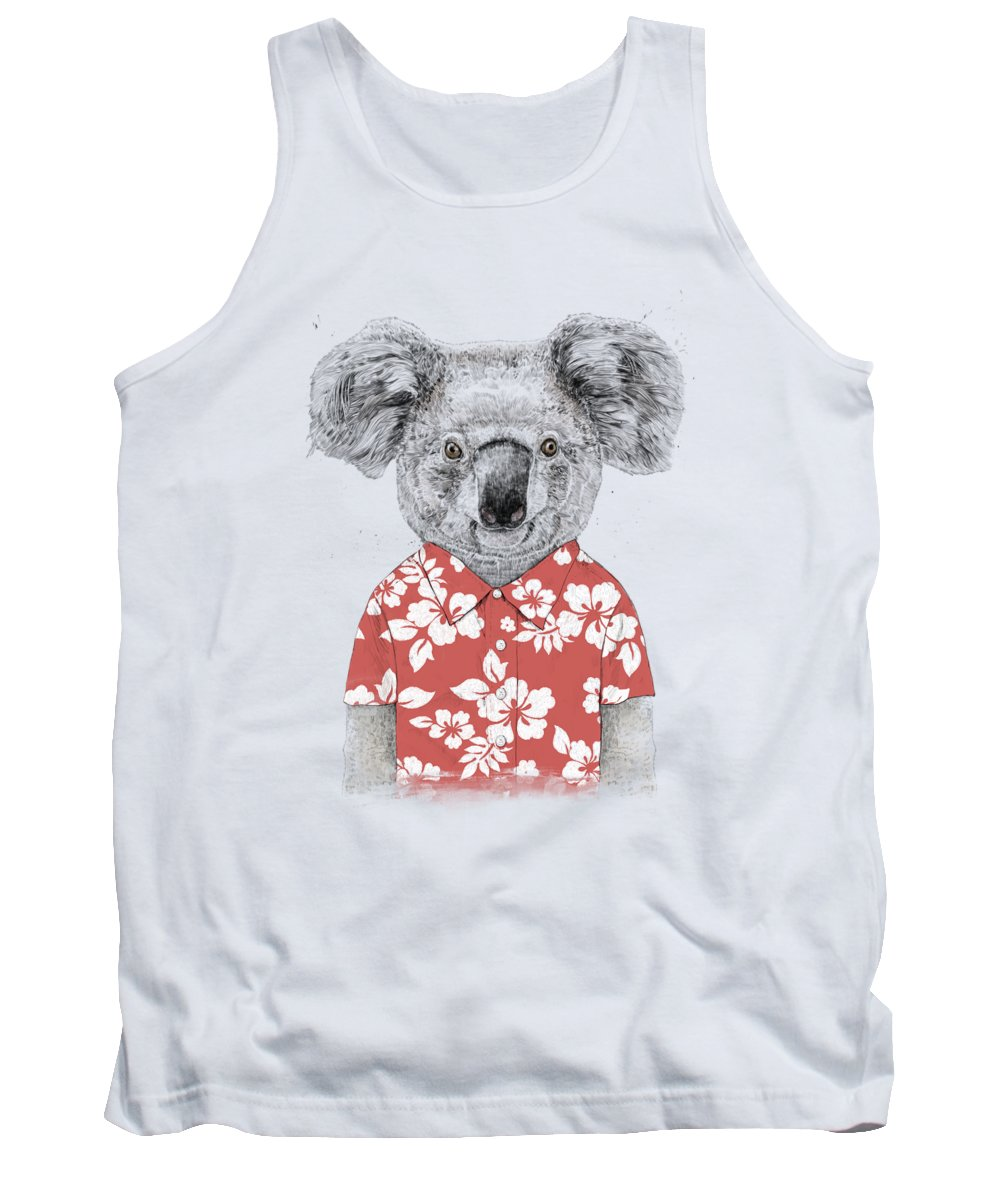 Koala Tank Top featuring the drawing Summer koala by Balazs Solti