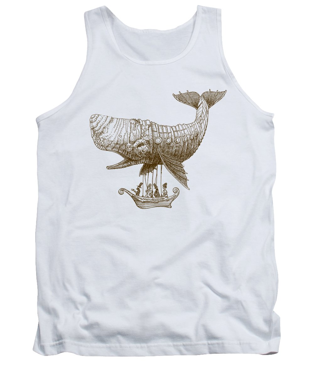 Whale Tank Top featuring the drawing Tea at Two Thousand Feet by Eric Fan