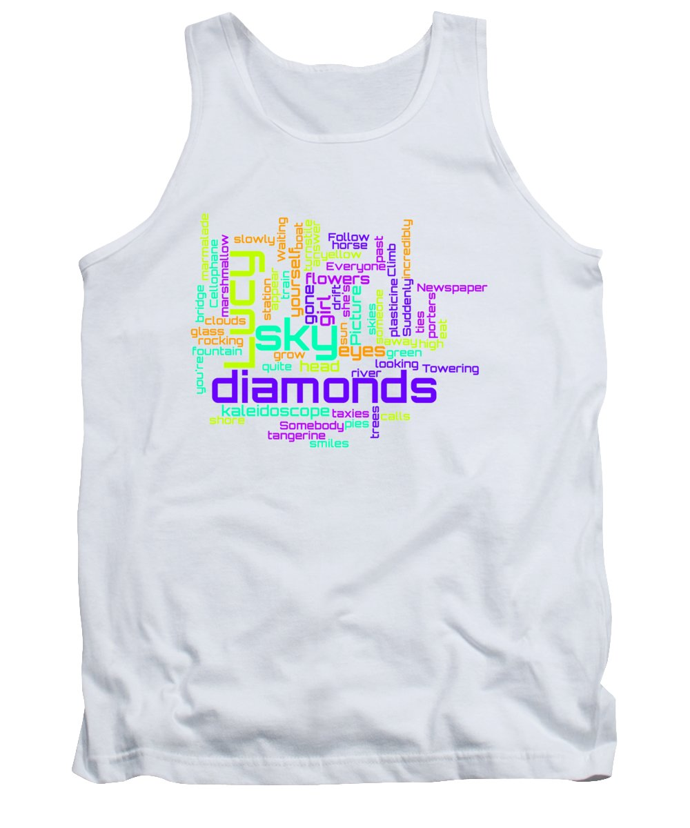 The Beatles Tank Top featuring the digital art The Beatles - Lucy in the Sky with Diamonds Lyrical Cloud by Susan Maxwell Schmidt