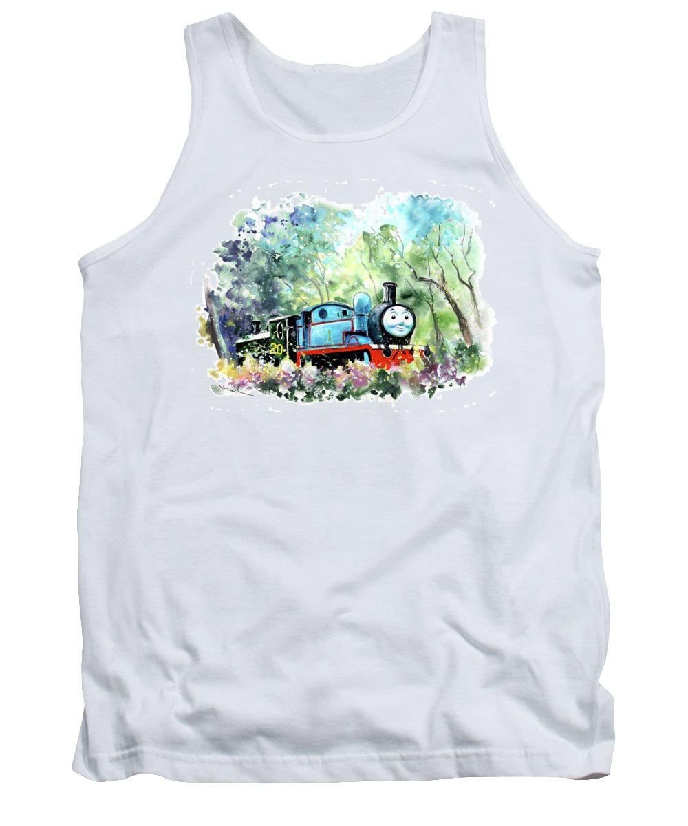 Travel Tank Top featuring the painting Thomas The Tank Engine In Buckfastleigh by Miki De Goodaboom