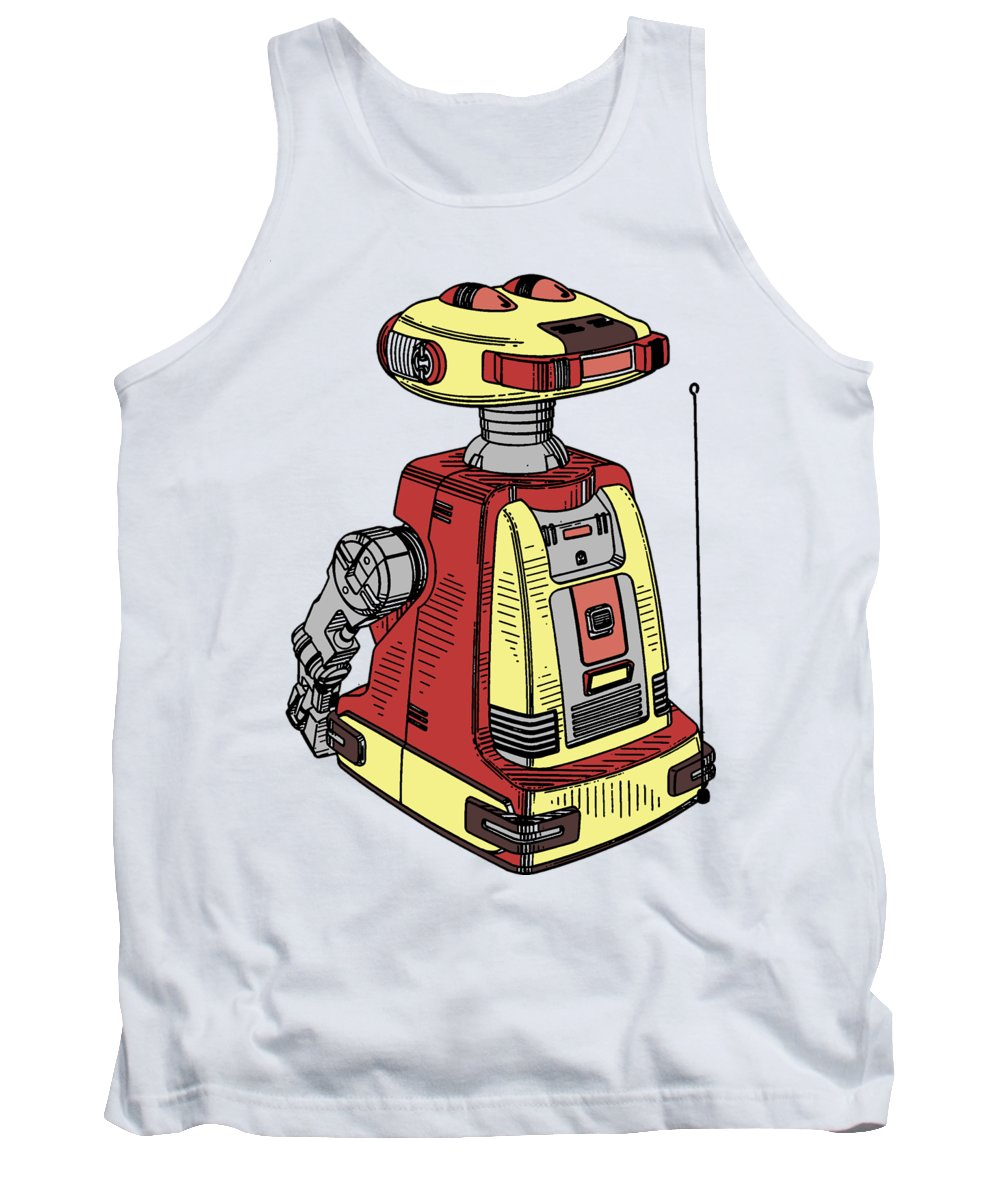 Robot Tank Top featuring the drawing Vintage Toy Robot Tee by Edward Fielding