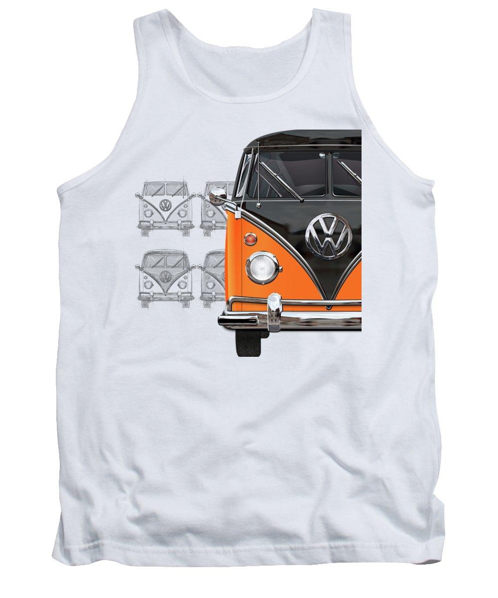 'volkswagen Type 2' Collection By Serge Averbukh Tank Top featuring the digital art Volkswagen Type 2 - Black And Orange Volkswagen T1 Samba Bus Over Vintage Sketch by Serge Averbukh