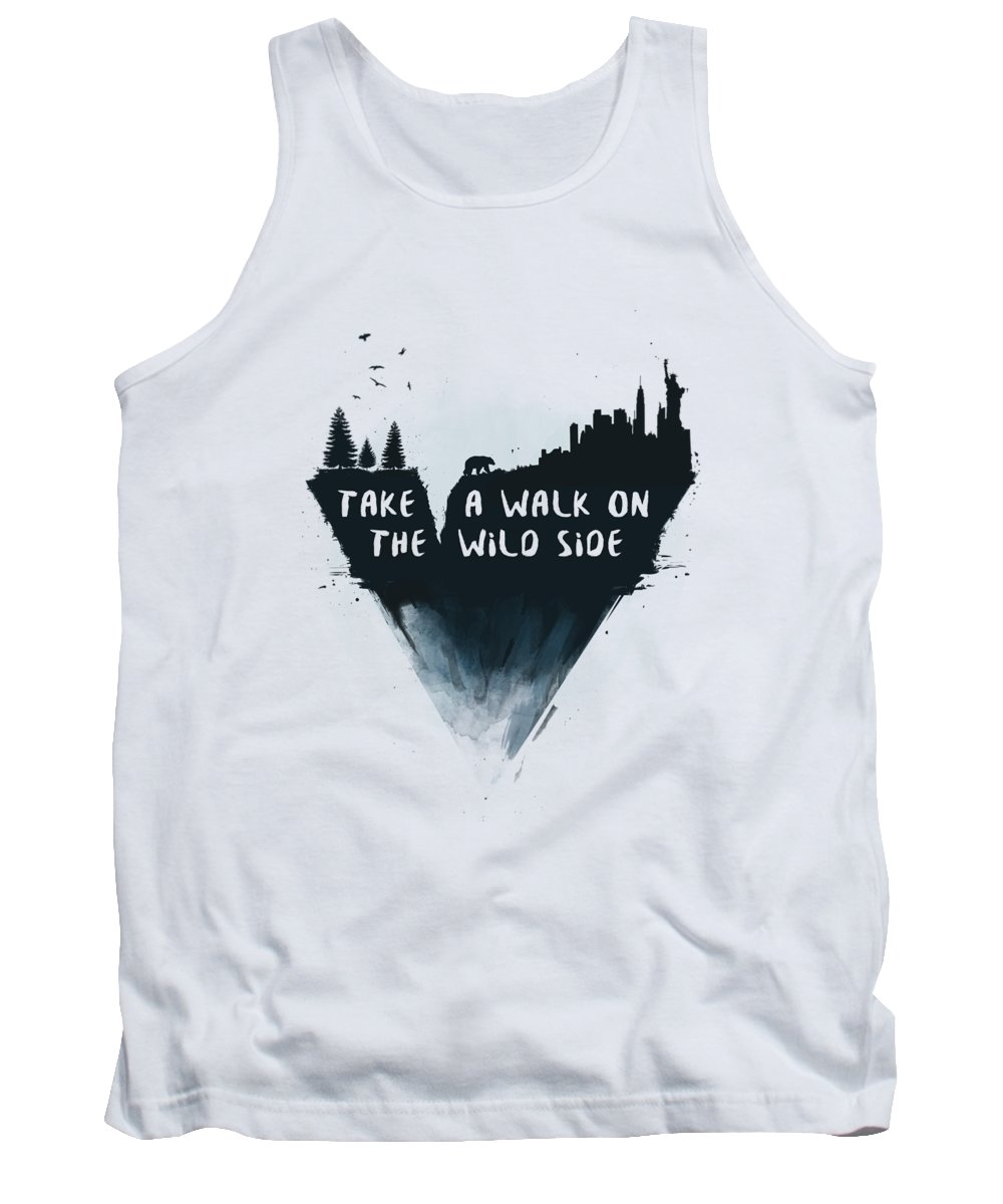 Bear Tank Top featuring the mixed media Walk on the wild side by Balazs Solti