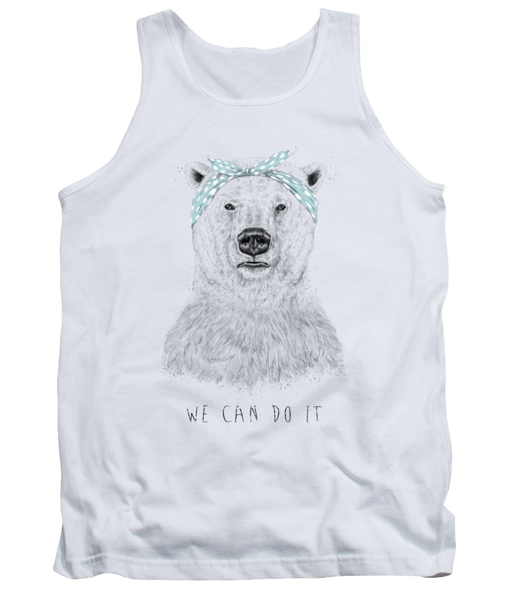 Bear Tank Top featuring the drawing We can do it by Balazs Solti