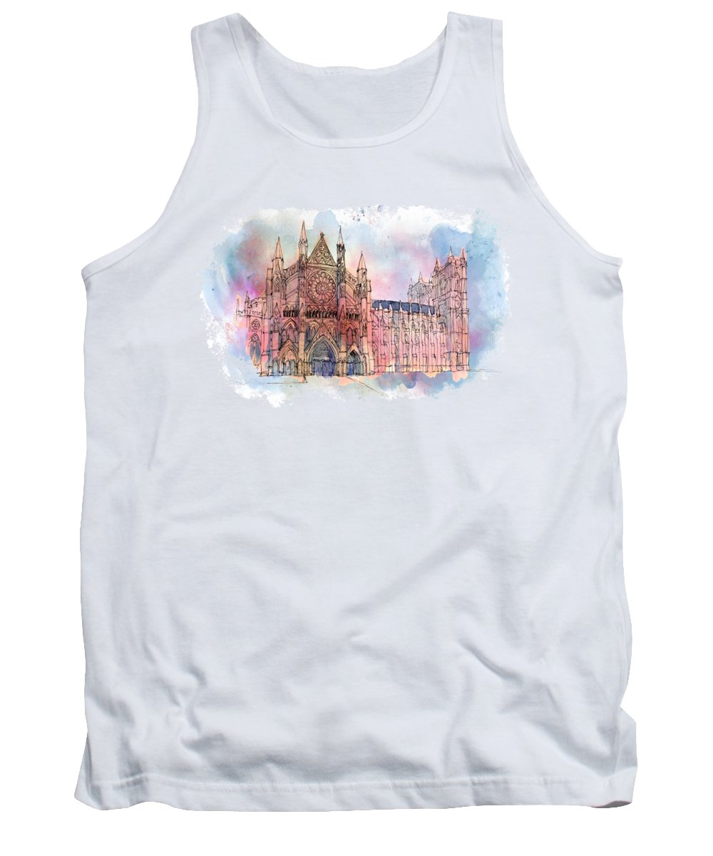 Big Ben Tank Top featuring the mixed media Westminster Abbey by Amanda Lakey
