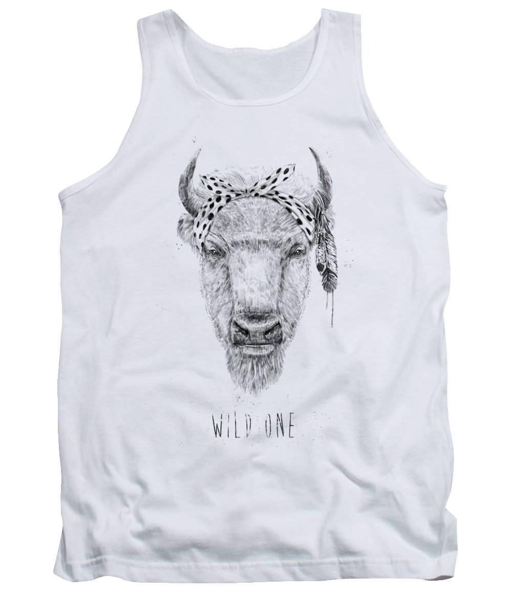 Bull Tank Top featuring the mixed media Wild One by Balazs Solti