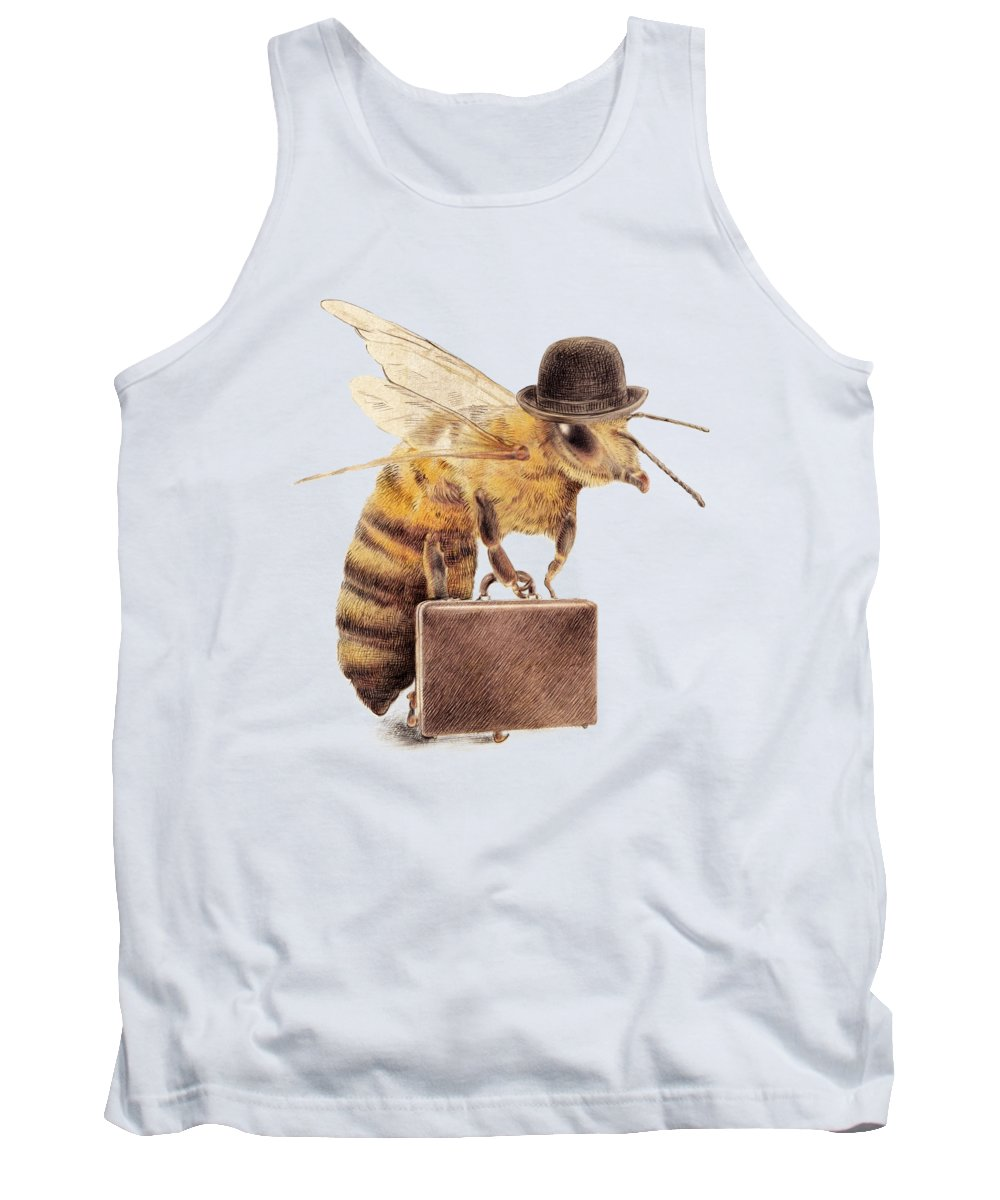 Bee Tank Top featuring the drawing Worker Bee by Eric Fan