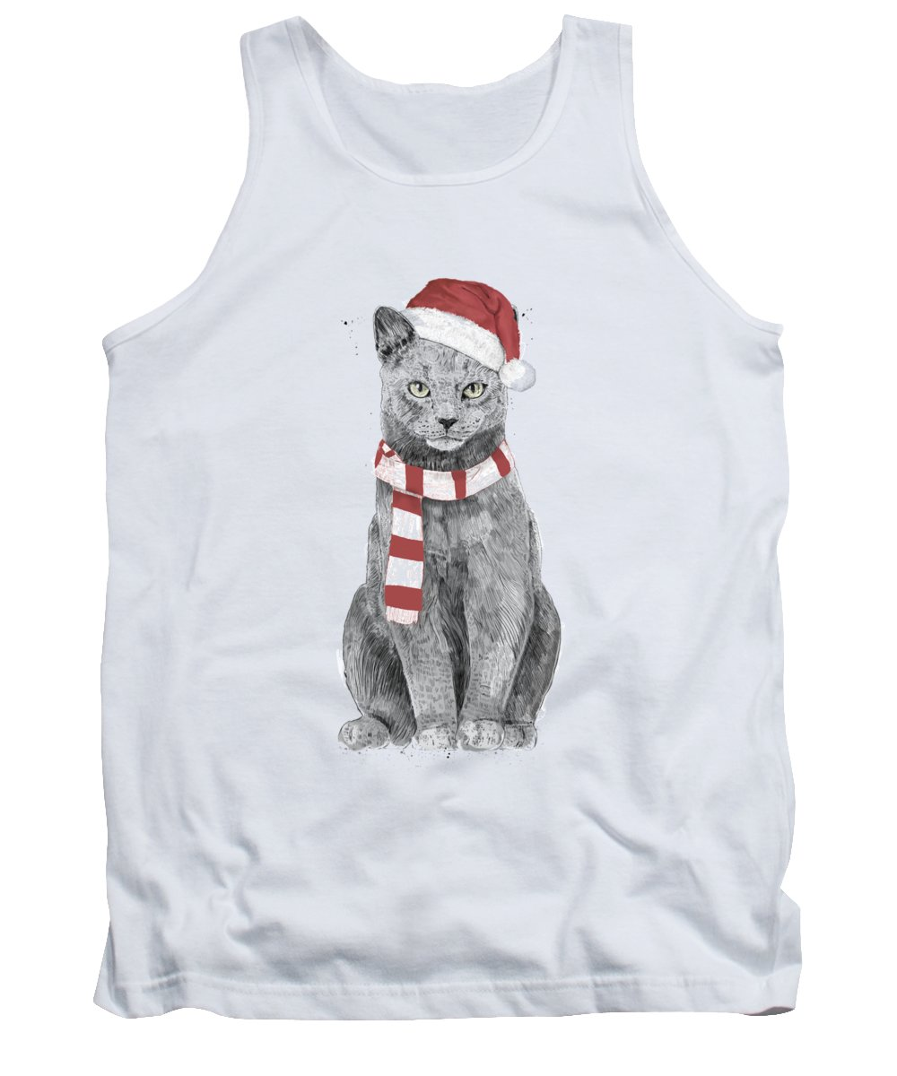 Cat Tank Top featuring the mixed media Xmas cat by Balazs Solti