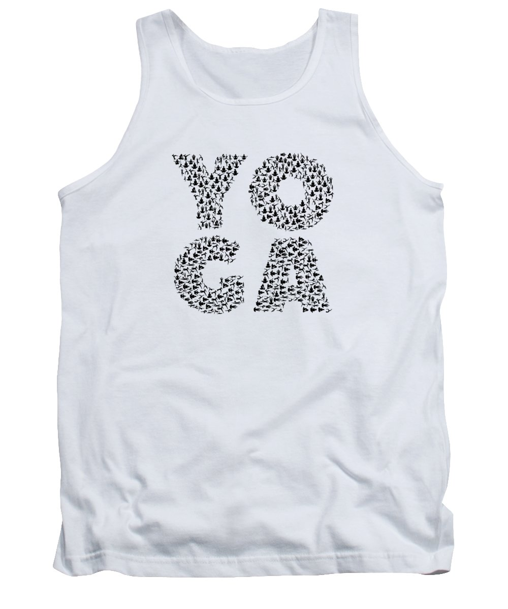 Yoga-gift Tank Top featuring the digital art Yoga Shirt Spells Yoga Gift In Yogi Positions by Mike G