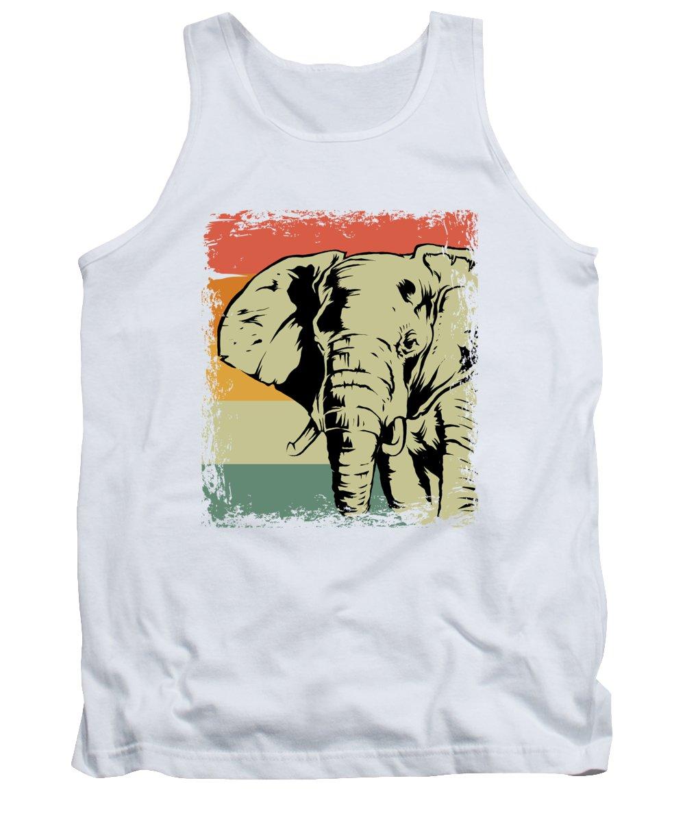 Elephant Tank Top featuring the digital art Vintage Elephant Animal Gift Idea by J M