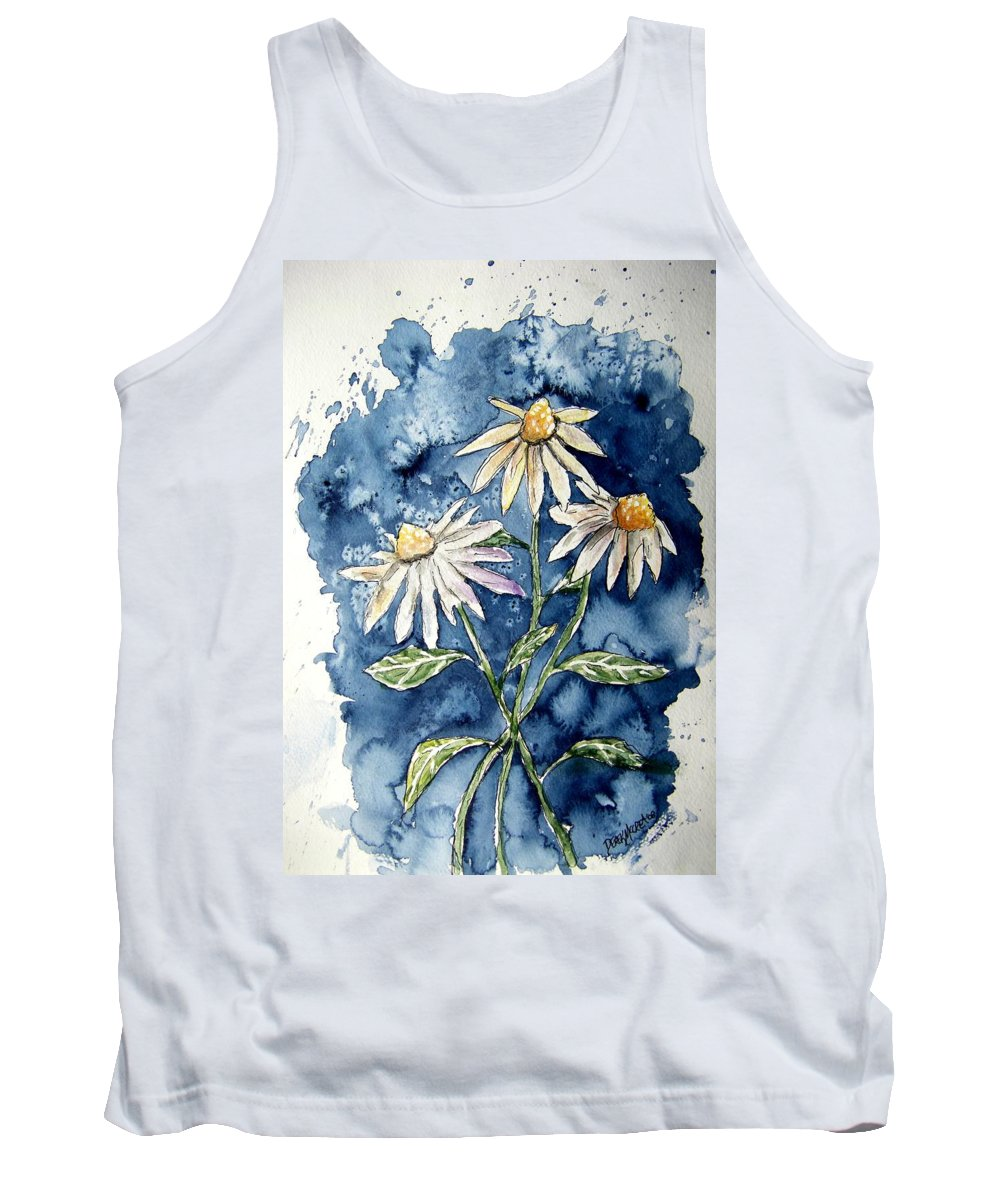 Daisy Tank Top featuring the painting 3 Daisies Flower Art by Derek Mccrea