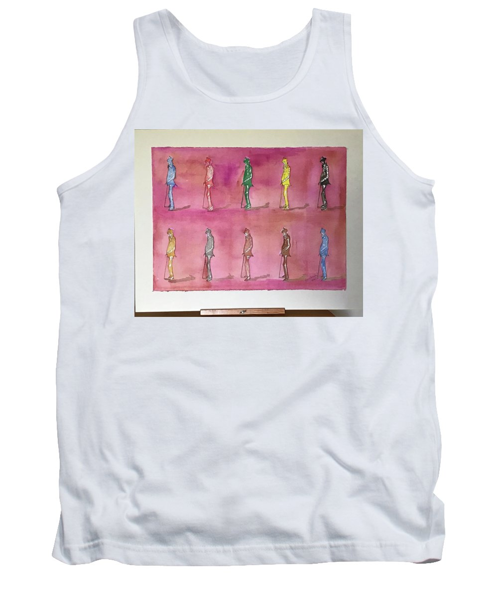 Figures Tank Top featuring the painting James Joyce the Pluralist, Paris by Roger Cummiskey