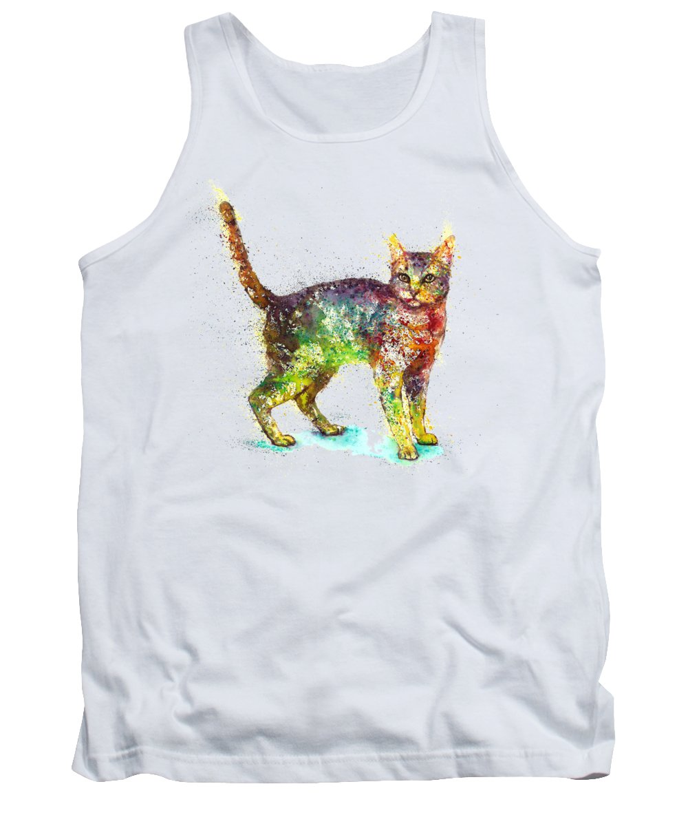 Cat Painting Tank Top featuring the painting Cat fantasy by Natalja Picugina