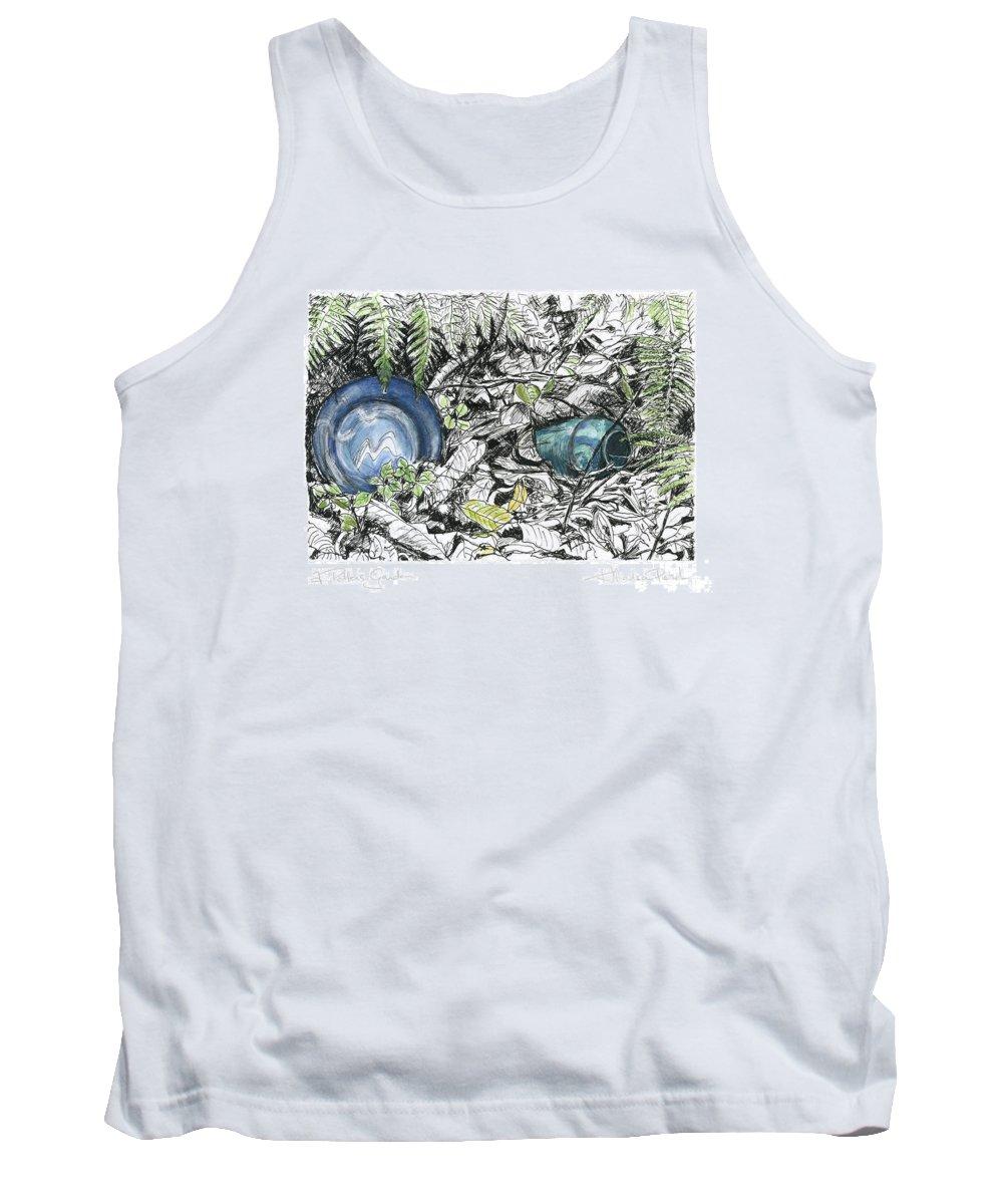 Fine Art Tank Top featuring the drawing A Potters Garden - Section 02 by Kerryn Madsen- Pietsch