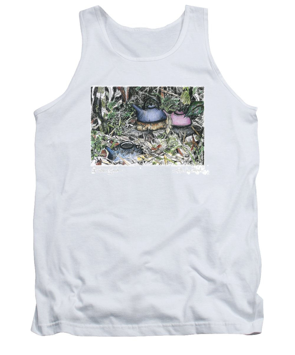 Fine Art Tank Top featuring the drawing A Potters Garden - Section 04 by Kerryn Madsen- Pietsch