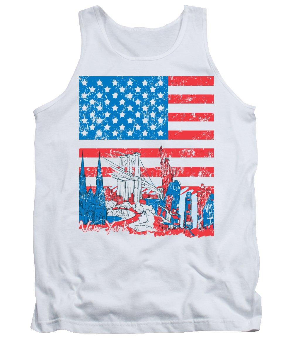 Military Tank Top featuring the digital art American Flag New York City by Jacob Zelazny