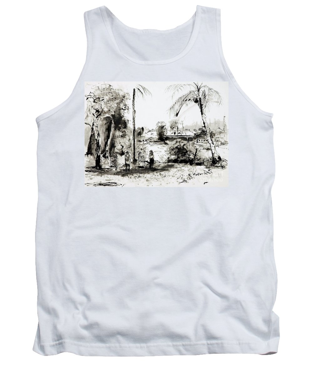 Tropical Tank Top featuring the painting Artists at work by the Johnstone River Innisfail FNQ  by Kerryn Madsen-Pietsch