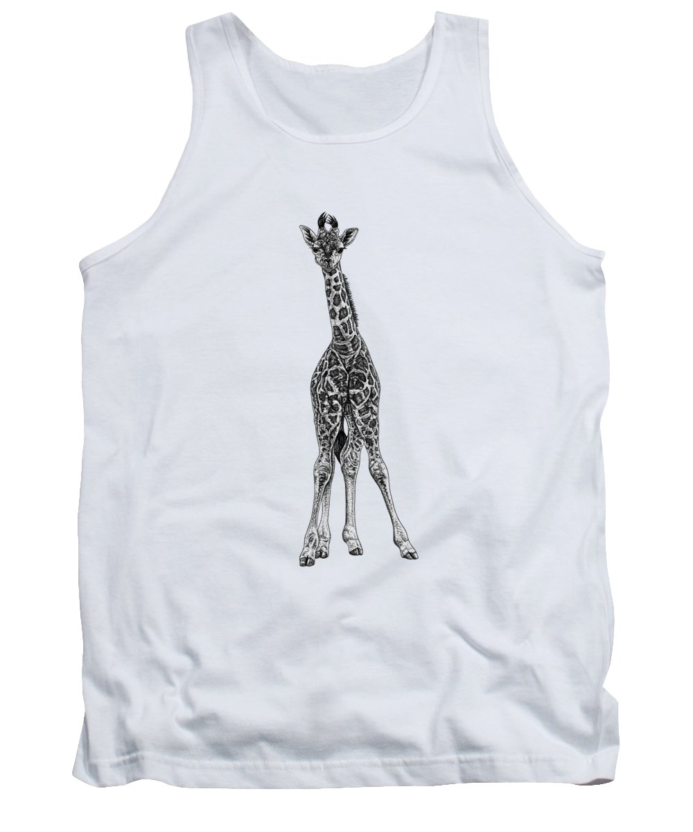 Giraffe Tank Top featuring the drawing Baby Rothschilds Giraffe Ink Illustration by Loren Dowding
