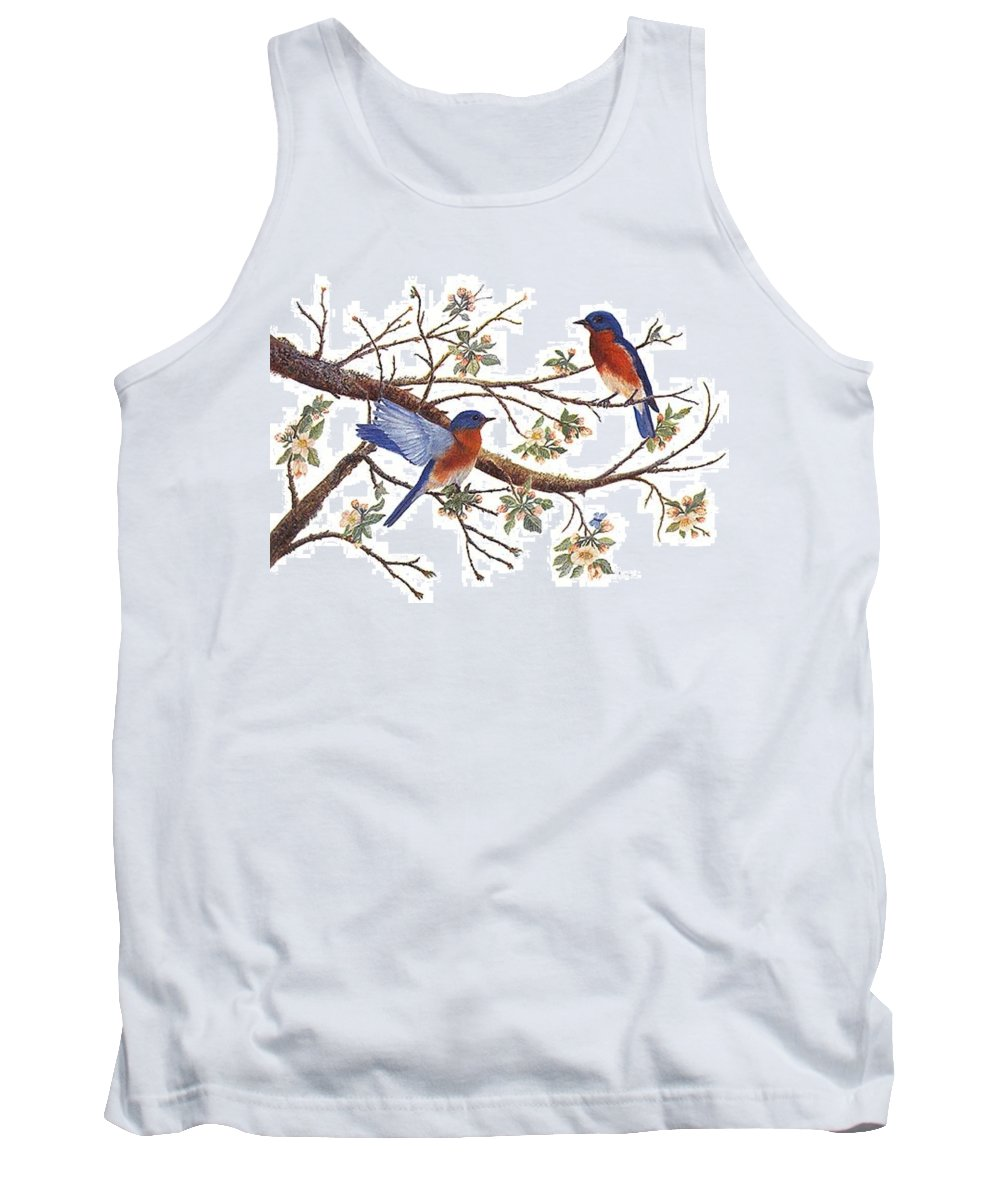 Bluebirds Tank Top featuring the painting Bluebirds And Apple Blossoms by Ben Kiger