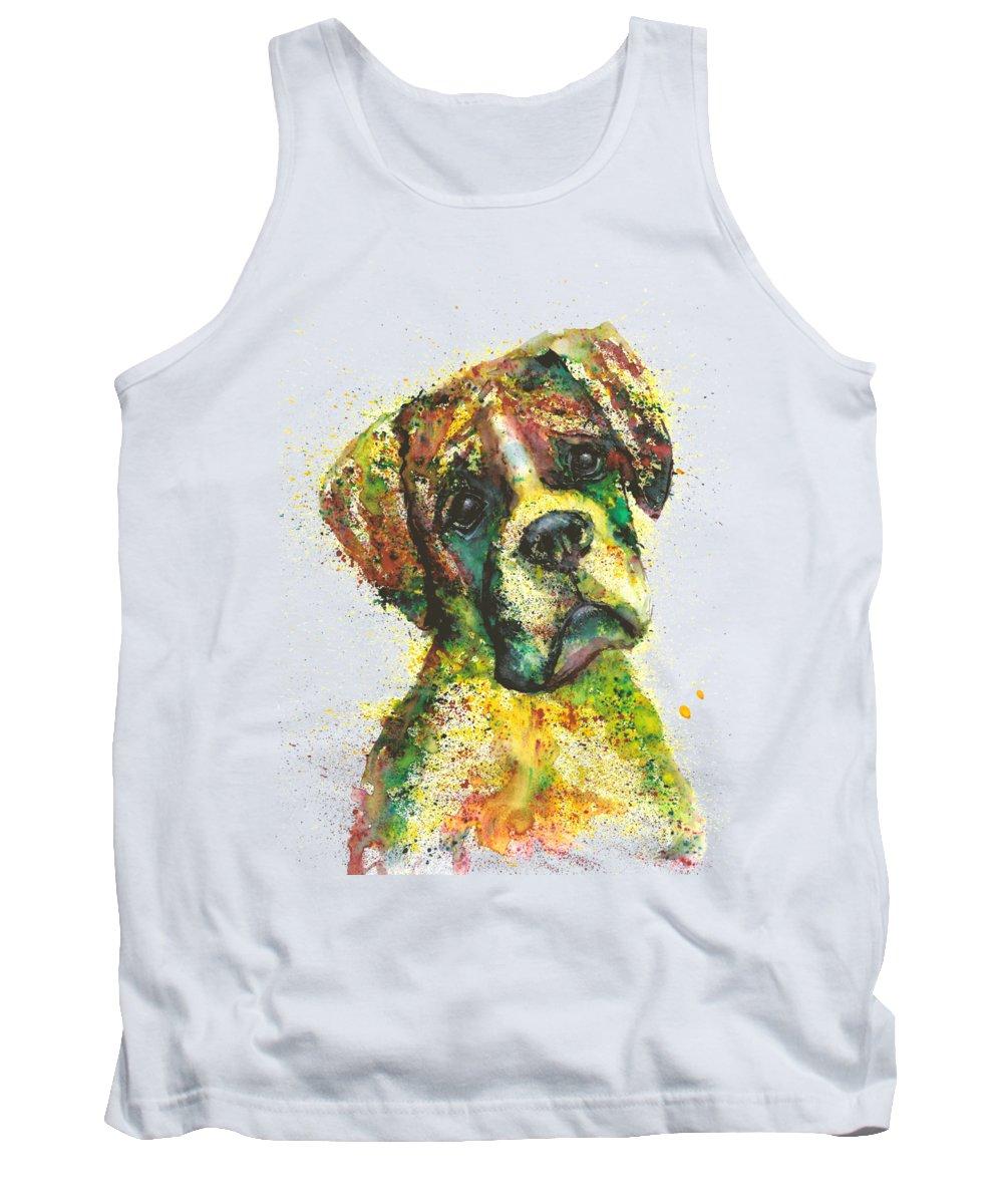 Dog Painting Tank Top featuring the painting Bulldog portrait Fantasy by Natalja Picugina