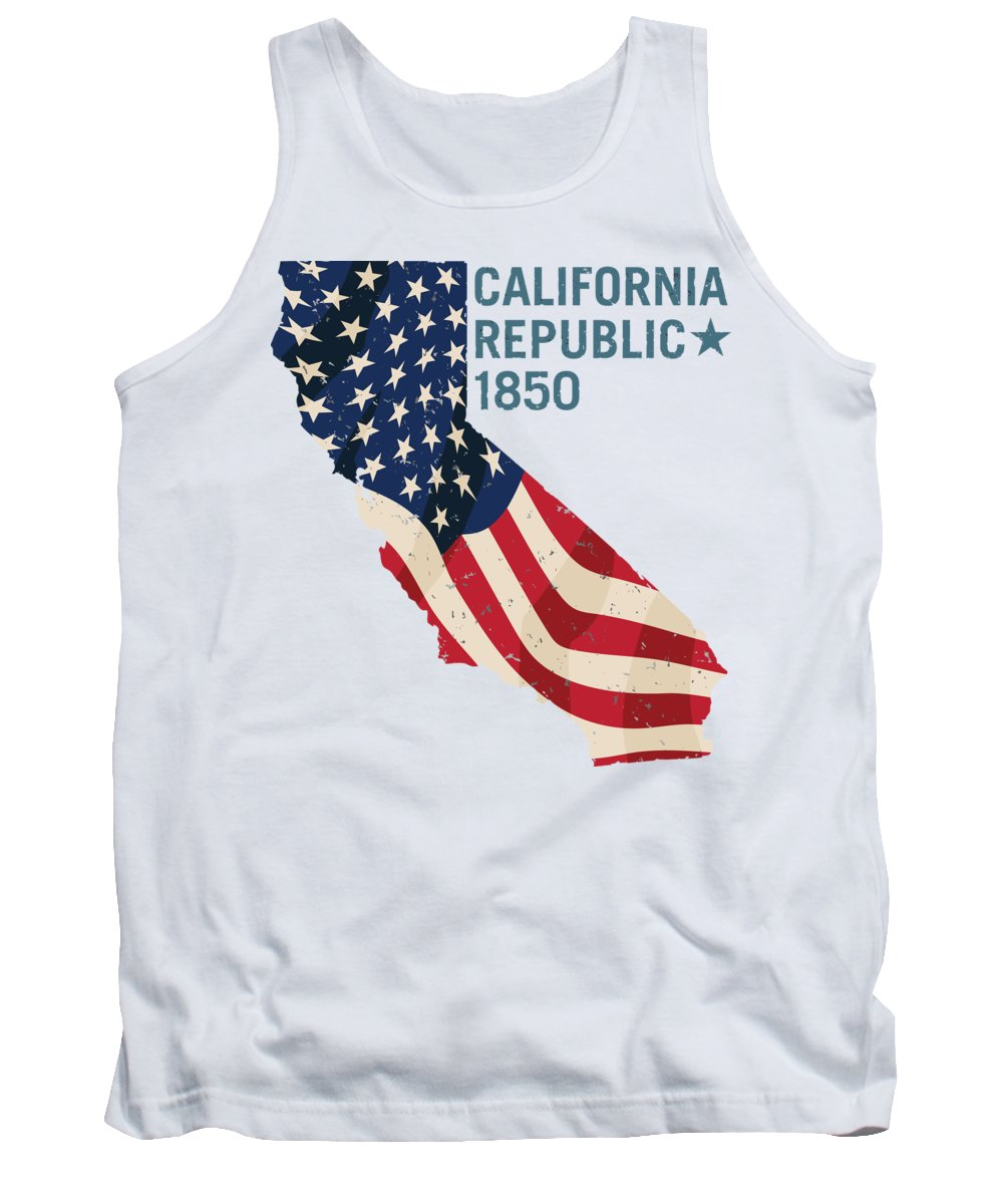 California Tank Top featuring the digital art California Republic 1850 With Stars And Stripes by Jeff Hobrath