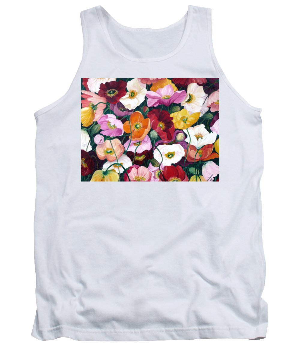 Flower Painting Floral Painting Poppy Painting Icelandic Poppies Painting Botanical Painting Original Oil Paintings Greeting Card Painting Tank Top featuring the painting Cascade Of Poppies by Karin Dawn Kelshall- Best