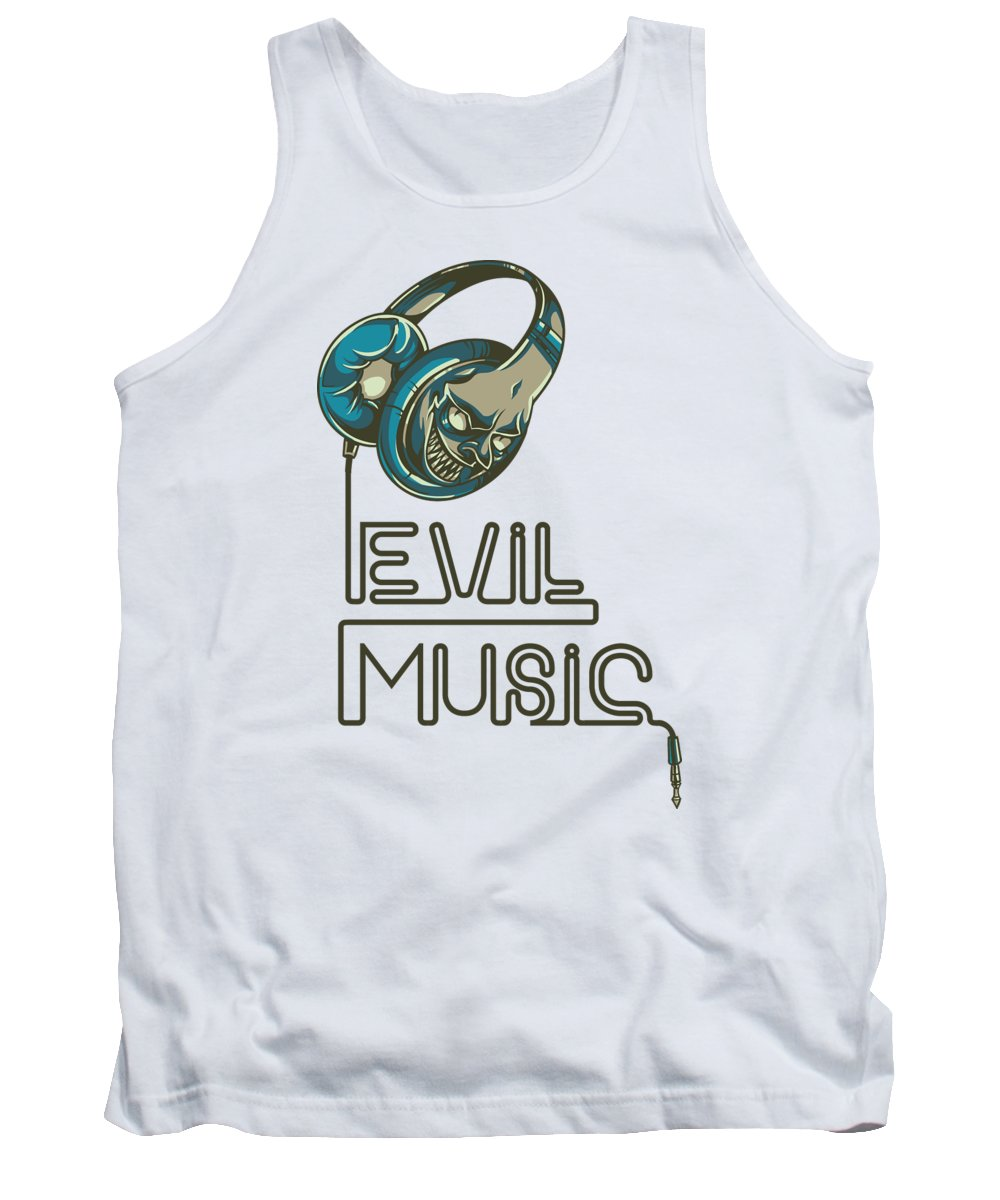 Skull Tank Top featuring the digital art Evil Music by Jacob Zelazny