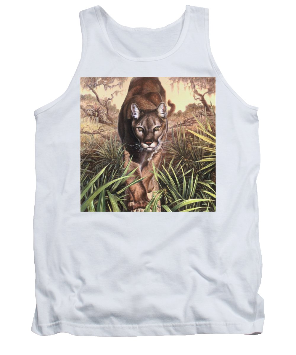 Florida Tank Top featuring the painting Florida Panther by Hans Droog