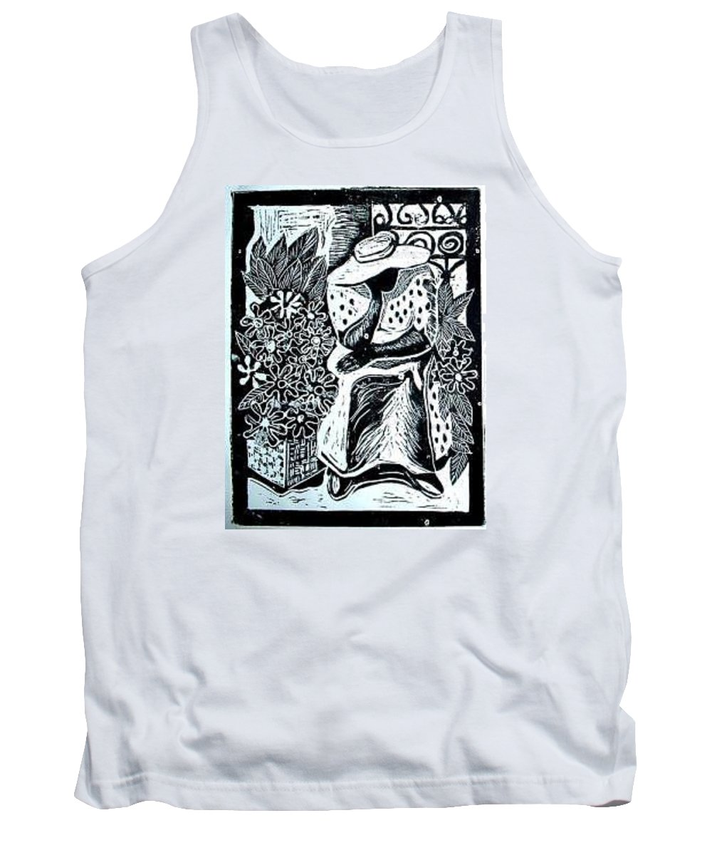 Everett Spruill Tank Top featuring the painting Flower Vendor by Everett Spruill