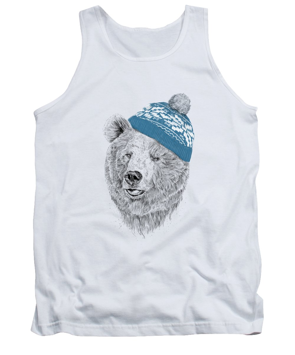 Bear Tank Top featuring the drawing Hello Winter by Balazs Solti