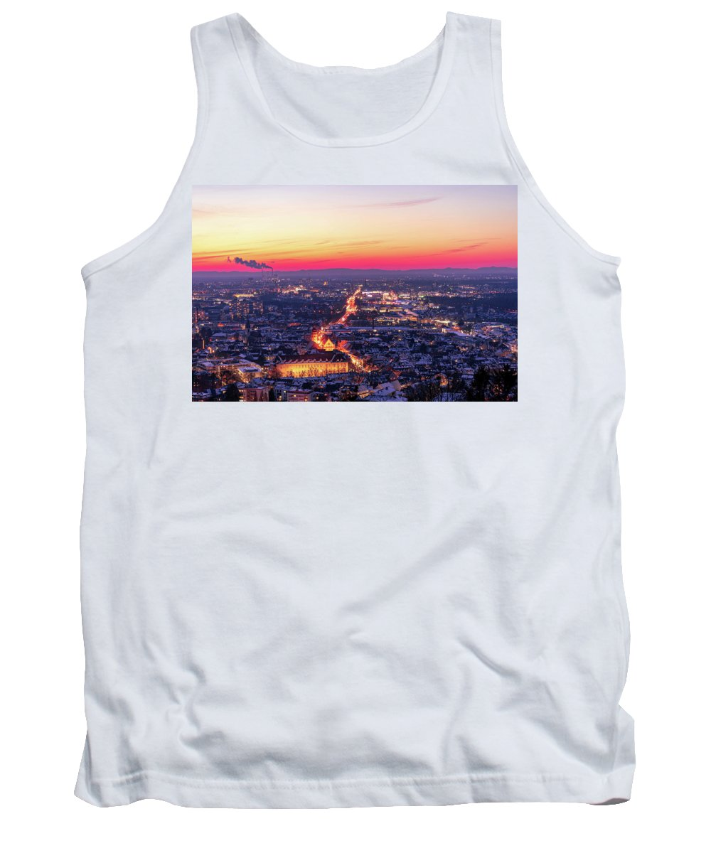 Karlsruhe Tank Top featuring the photograph Karlsruhe in winter at sunset by Hannes Roeckel
