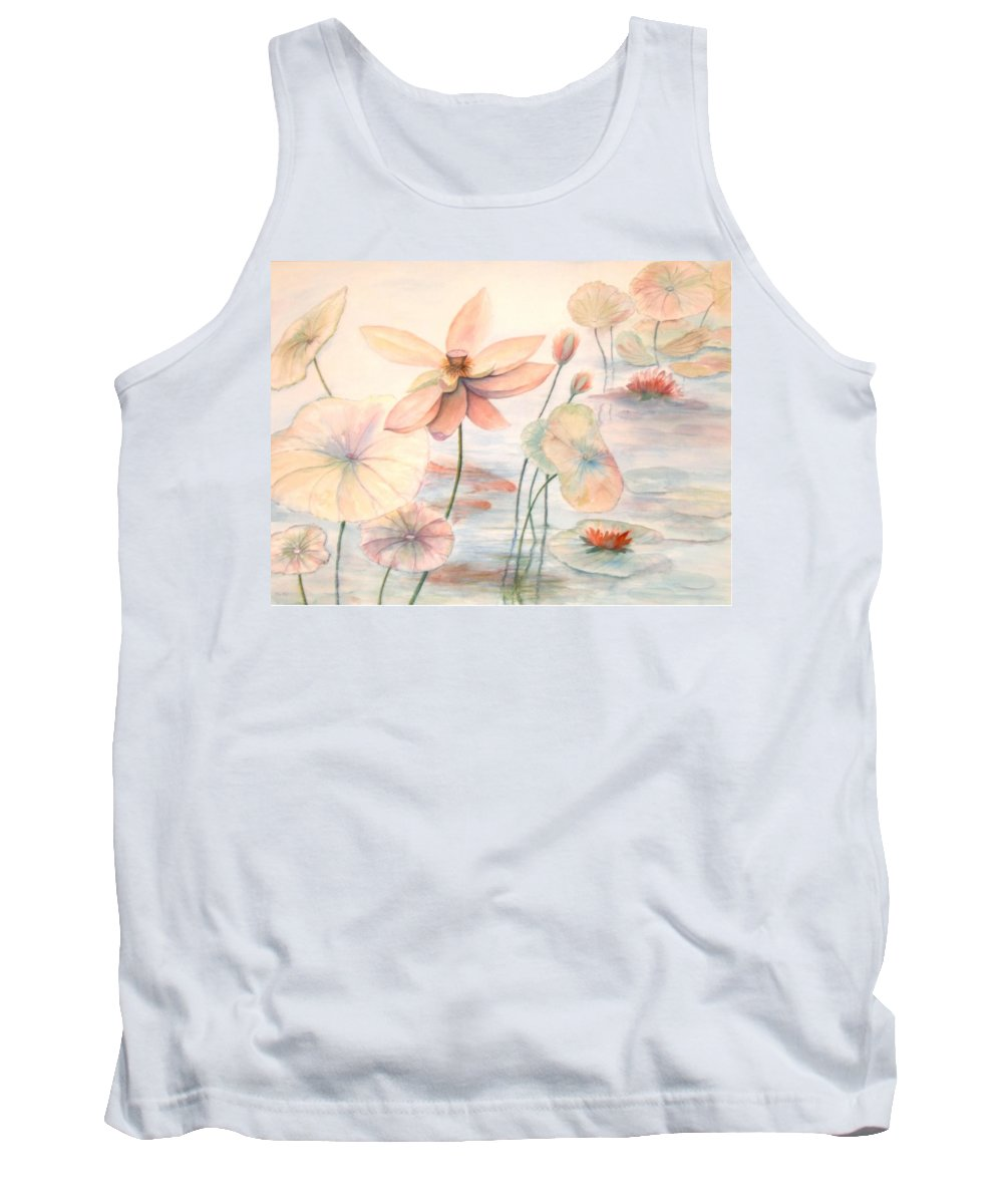 Lily Pads And Lotus Blossoms Tank Top featuring the painting Lily Pads by Ben Kiger
