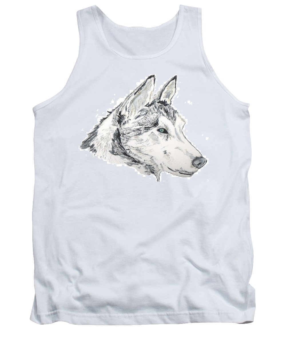 Wolf Tank Top featuring the painting Noble Soul by Crystal Hubbard