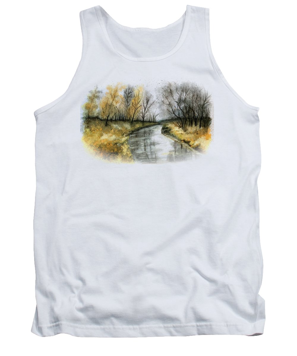 Landscape Tank Top featuring the painting November River by Gitta Glaeser