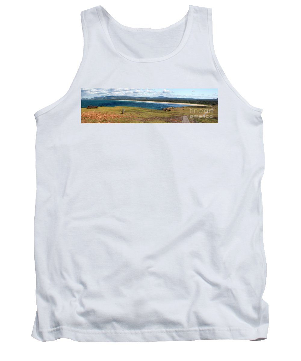 Panorama Of Look At Me Headland Tank Top featuring the photograph Panorama of Look at Me Headland, Australia by Sheila Smart Fine Art Photography