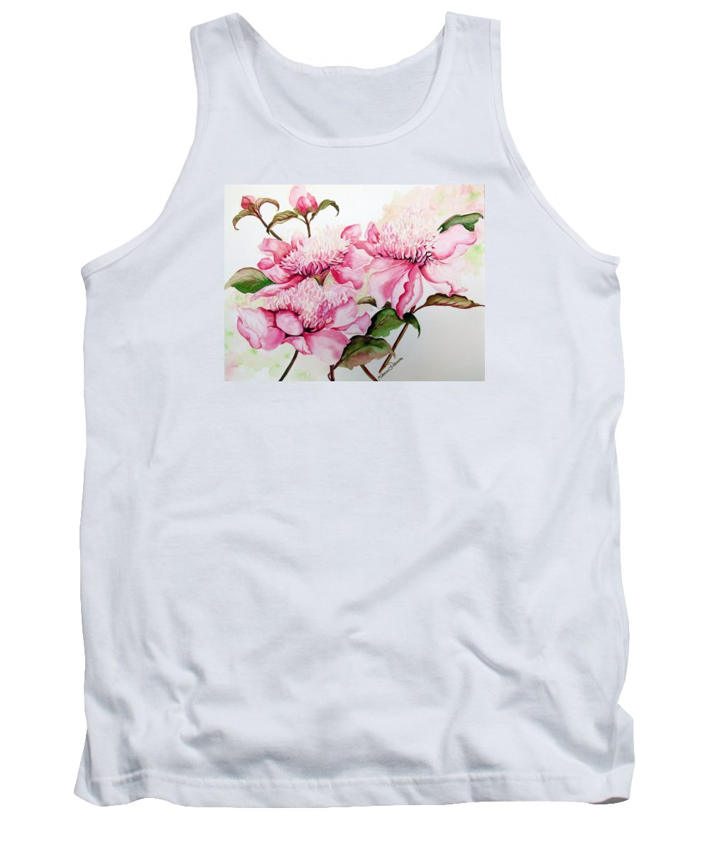 Flower Painting Flora Painting Pink Peonies Painting Botanical Painting Flower Painting Pink Painting Greeting Card Painting Pink Peonies Tank Top featuring the painting Peonies by Karin Dawn Kelshall- Best