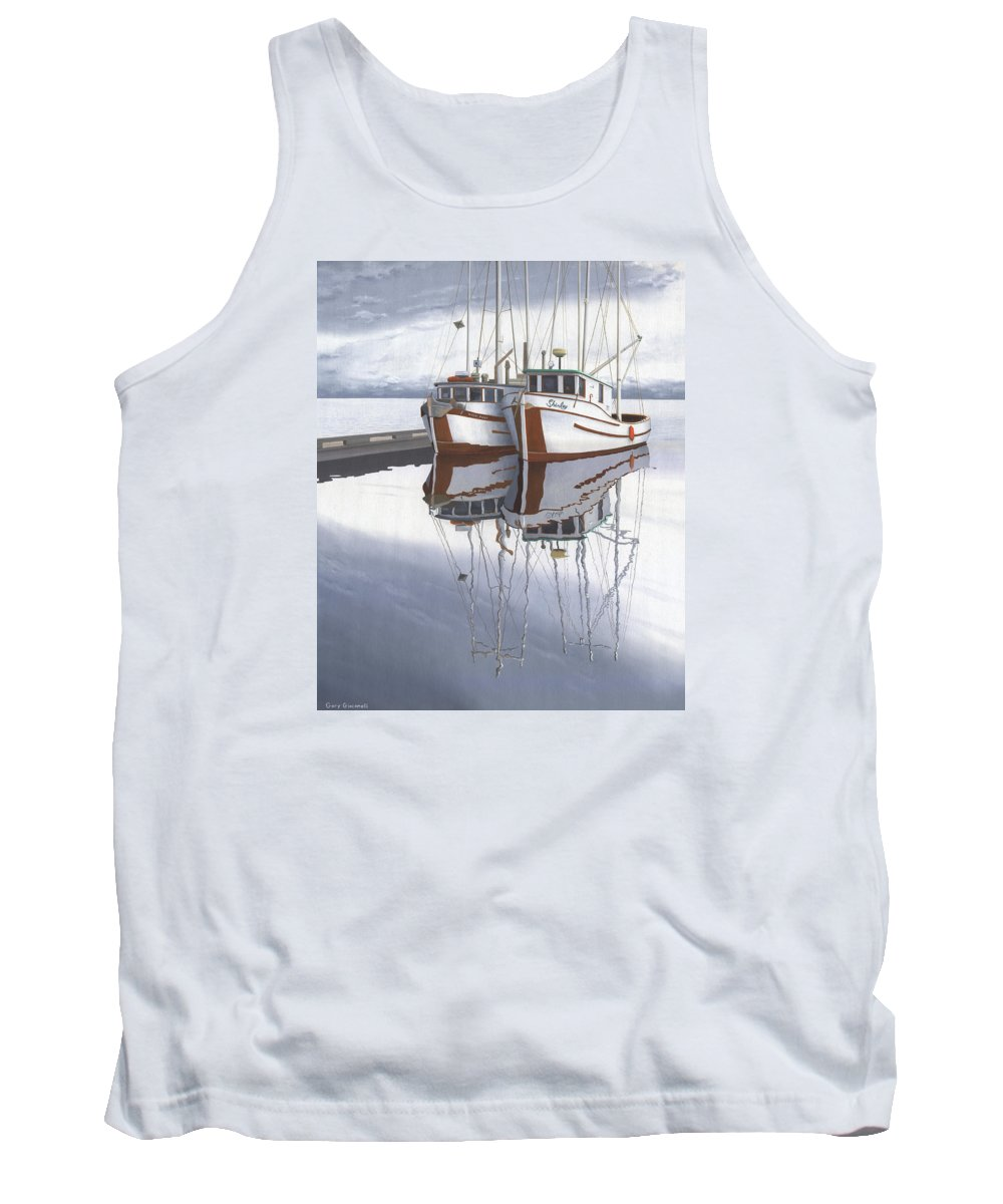 Fishing Boat Tank Top featuring the painting Powell River fishing boats by Gary Giacomelli