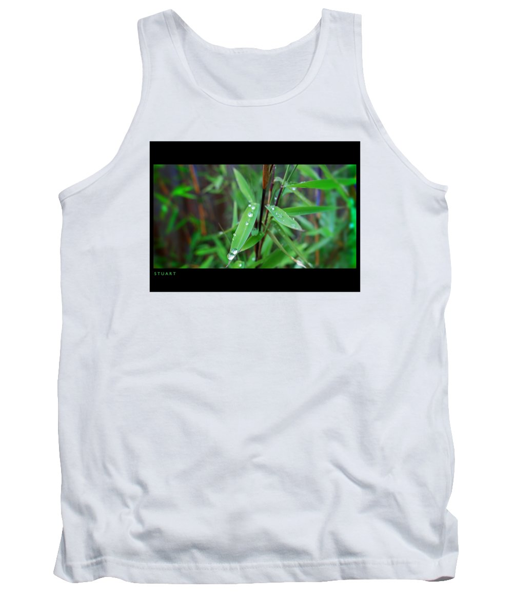 Rain Drops Tank Top featuring the painting Rain On Bamboo by Charles Stuart