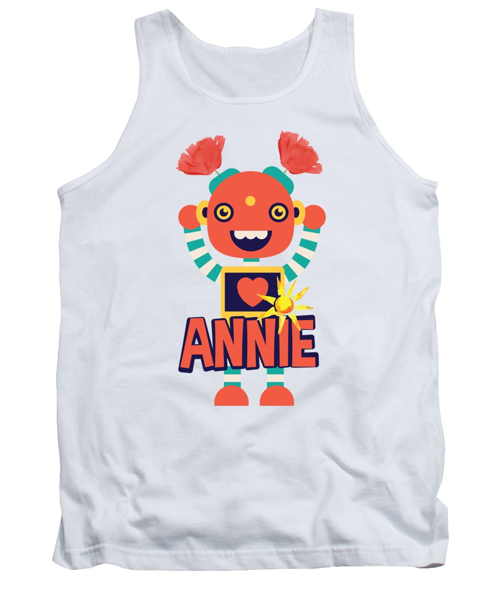 Robot Tank Top featuring the digital art Robot Annie by Jacob Zelazny