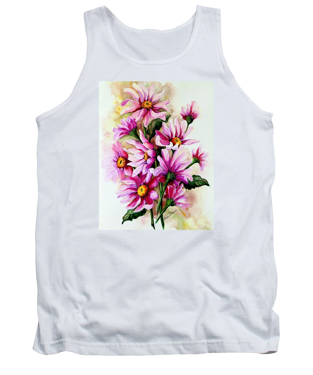 Pink Daisy Floral Painting Flower Painting Botanical Painting Bloom Painting Greeting Card Painting Tank Top featuring the painting So Pink by Karin Dawn Kelshall- Best